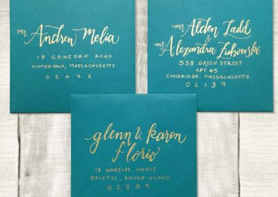 Turquoise with Gold Envelopes