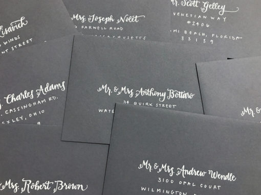 Charcoal Envelopes with White Ink