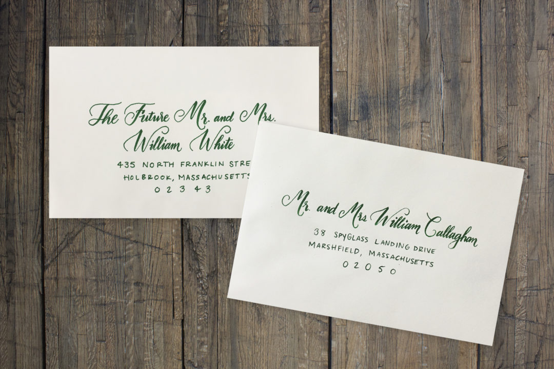Cream Envelopes with Green Ink