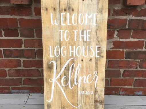 Welcome to the Log House Wood Sign