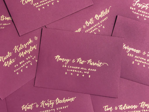Burgundy Envelopes with Gold Ink