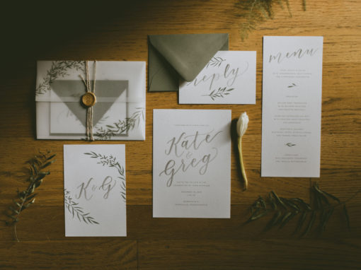 Winter Greenery Wedding Invitations