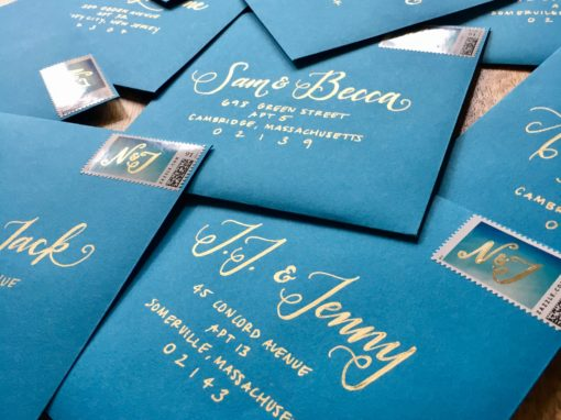 Teal Envelopes with Gold Ink