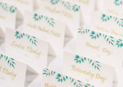 Greenery with Gold Ink Escort Cards & Table Numbers