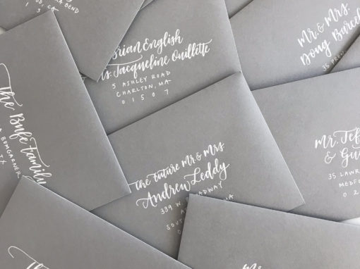 Light Grey Envelopes with White Ink