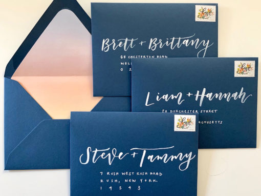 Navy Envelopes with White Ink